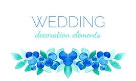 Elementos de la decoración del vector de la acuarela con las hojas y las bayas para las invitaciones de boda Imagenes de archivo