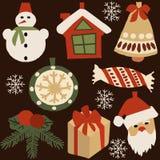 Elementos de la decoración para la Navidad 1 ilustración del vector