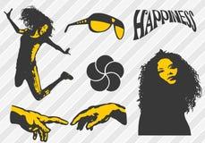 Elementos de la felicidad Ilustración del Vector