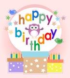 Elementos de la fiesta de cumpleaños con los buhos y los pájaros lindos Imagenes de archivo