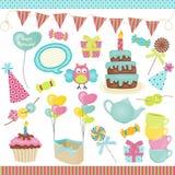 Elementos de la fiesta de cumpleaños Fotos de archivo