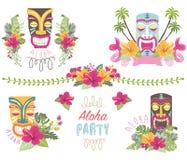 Elementos de la flor del verano de Tropicana Imagen de archivo