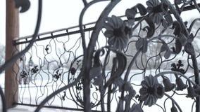 Elementos de la forja del arte y cerca del hierro Elementos decorativos rizados del metal áspero Elementos de la decoración del v almacen de video