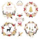 Elementos de la guirnalda de la Navidad del oro libre illustration