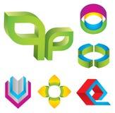 elementos de la insignia 3d