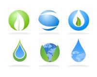 Elementos de la insignia de la naturaleza de la ecología ilustración del vector