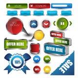 Elementos de la navegación de la plantilla del diseño web: Botones de la navegación con los ornamentos Fotos de archivo libres de regalías