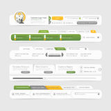 Elementos de la navegación del menú del diseño de la plantilla del sitio web con los iconos fijados. Fotografía de archivo