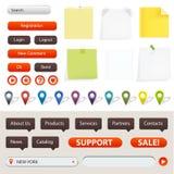 Elementos de la navegación y del Web site del GPS Fotografía de archivo libre de regalías