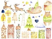 Elementos de la Navidad de la acuarela stock de ilustración