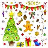 Elementos de la Navidad de la acuarela aislados en el fondo blanco Fotos de archivo