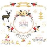 Elementos de la Navidad del oro del vintage stock de ilustración