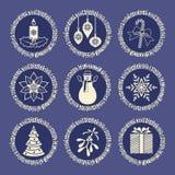 Elementos de la Navidad en azul Foto de archivo