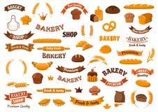 Elementos de la panadería y de los pasteles para el diseño stock de ilustración