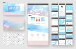 Elementos de la plantilla y del interfaz del diseño del sitio web Fotografía de archivo
