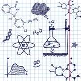 Elementos de la química del drenaje de la mano del vector Foto de archivo libre de regalías