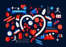 Elementos de la salud y de la aptitud Imagen de archivo libre de regalías