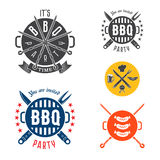 Elementos de la tarjeta de la invitación del partido del Bbq stock de ilustración