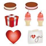 Elementos de la tarjeta del día de San Valentín Fotos de archivo