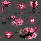Elementos de la tarjeta del día de San Valentín de Grunge Fotos de archivo libres de regalías