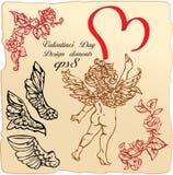 Elementos de la vendimia: rosas, alas de los ángeles, cupid ilustración del vector