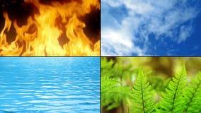 Elementos de la vida - fuego, agua, tierra, aire almacen de video