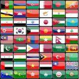 Elementos de las banderas de los iconos del diseño de los países de Asia Imagen de archivo libre de regalías