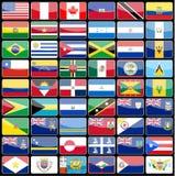 Elementos de las banderas de los iconos del diseño del continente de América Fotografía de archivo libre de regalías