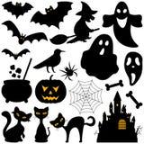 Elementos de las siluetas de Halloween Fotos de archivo libres de regalías