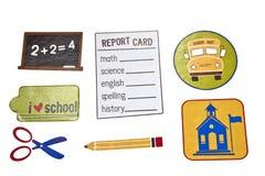 Elementos de los días escolares Foto de archivo libre de regalías