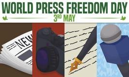 Elementos de los medios de comunicaci?n para celebrar el d?a de la libertad de prensa del mundo, ejemplo del vector ilustración del vector