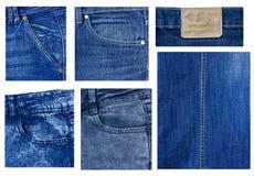 Elementos de los pantalones vaqueros de la ropa moderna Imagen de archivo
