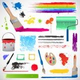 Elementos de los splats de la pintura y de la pintura Foto de archivo libre de regalías