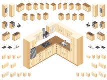 Elementos de madeira da cozinha Fotos de Stock Royalty Free