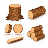Elementos de madera del corte Imágenes de archivo libres de regalías