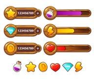 Elementos de madera del juego con la barra de progreso Activos del juego de la historieta fijados Elementos del GUI del vector Lo stock de ilustración
