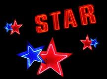 Elementos de néon do sinal da estrela Fotos de Stock