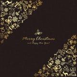 Elementos de oro de la Navidad en esquina en fondo negro Fotografía de archivo libre de regalías