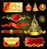 Elementos de oro del diseño de la Navidad. Imagen de archivo libre de regalías