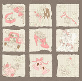 Elementos de papel del diseño del amor y de la boda Fotos de archivo libres de regalías