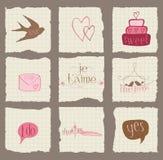 Elementos de papel del diseño del amor y de la boda Imágenes de archivo libres de regalías