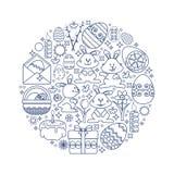 Elementos de Pascua dispuestos en círculo Conejito del vector, regalo, huevo imagen de archivo