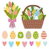 Elementos de Pascua por el tiempo de primavera hecho de huevos coloridos, de ramo de las flores y del cubo marrón con los tulipan ilustración del vector
