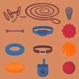 Elementos de passeio do cão Grupo isolado plano, artigos da caminhada do animal de estimação Ícones caninos colar, trela e cabeça ilustração do vetor