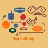 Elementos de passeio do cão Grupo isolado plano, artigos da caminhada do animal de estimação Ícones caninos colar, trela e cabeça Foto de Stock