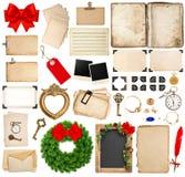 Elementos de Scrapbooking para cumprimentos dos feriados do Natal Foto de Stock Royalty Free