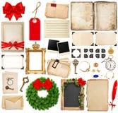 Elementos de Scrapbooking para los saludos de los días de fiesta de la Navidad Foto de archivo libre de regalías