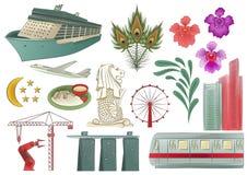 Elementos de Singapura ilustração royalty free