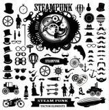 Elementos de Steampunk Etiquetas e iconos del vector Foto de archivo libre de regalías