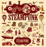 Elementos de Steampunk Iconos del vector Fotos de archivo